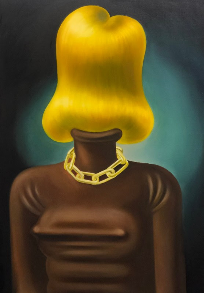 Louise Bonnet, The Gold Chain, 2018, Oil on linen, 64 x 56 in, 162.6 x 142.2 cm
