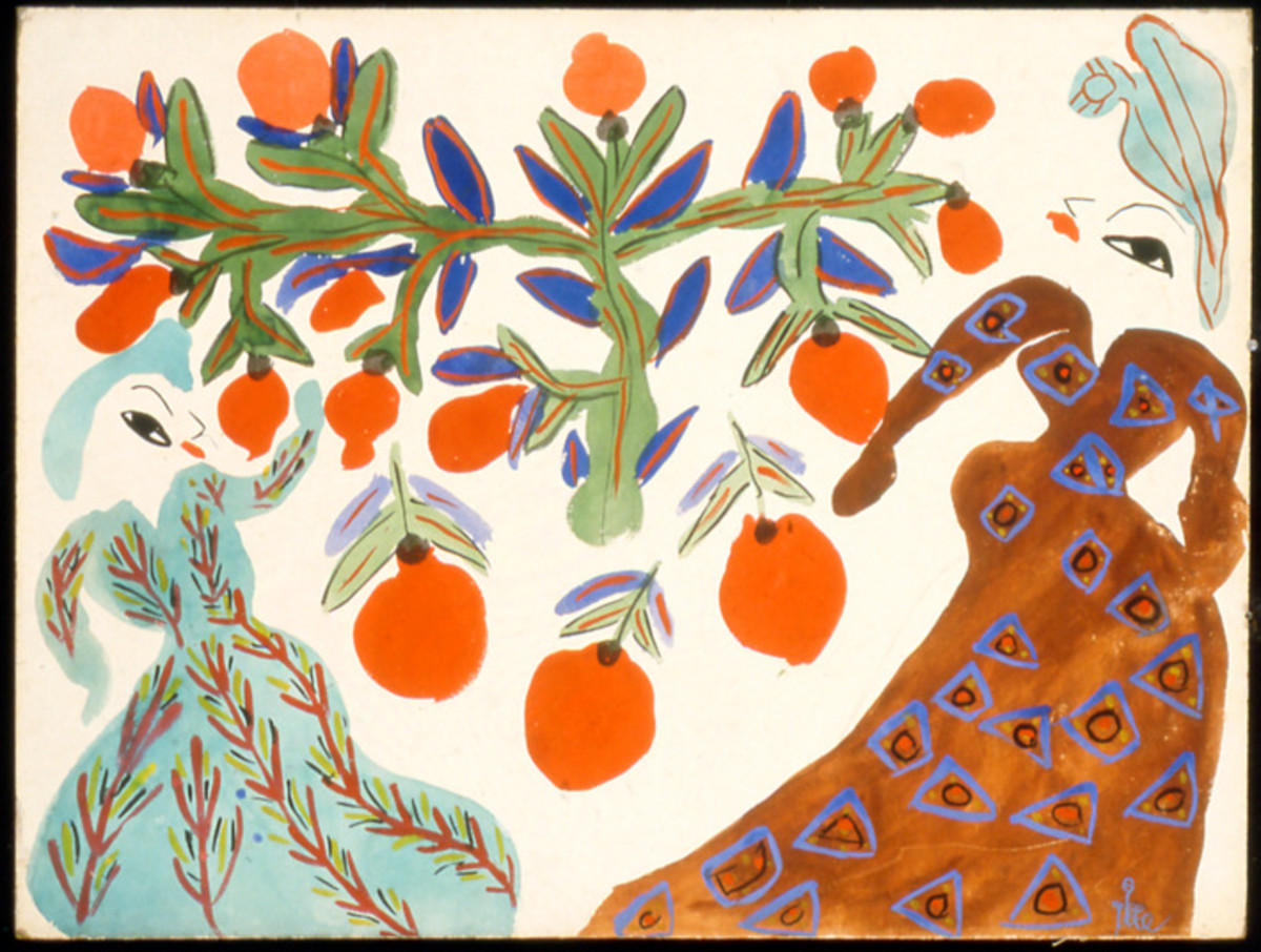 Baya, Femmes et orangers fond blanc, (Women and orange trees on a white background), 1947; Gouache on board 18 7⁄8 x 24 3⁄4 in. (47.9 x 62.9 cm); Collection of Isabelle Maeght, Paris © Photo Galerie Maeght, Paris via The Cut