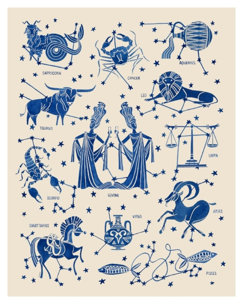 "Astrological Signs by Teresa Grasseschi, original illustration, 18"" x 24"", framed, $500"