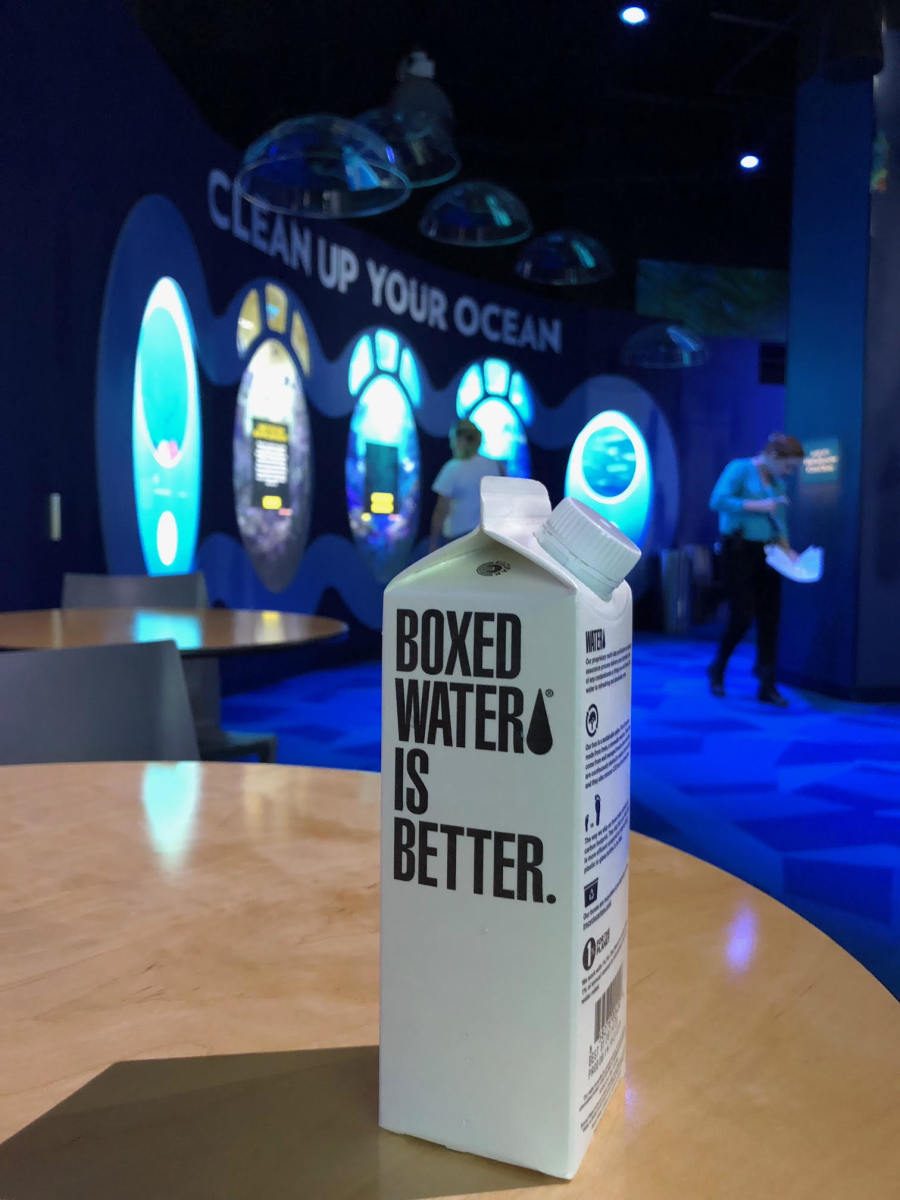 Boxed Water is one of the sustainable options the National Geographic Encounter offers after you pledge to help the planet.